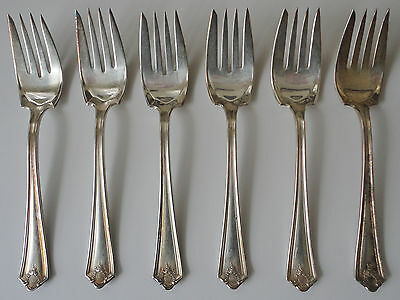 Antique 6 Piece Small Silverplate Fork Set   Wm Rogers  Pat'14  Monogrammed