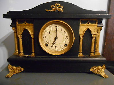 Antique 1920's Sessions 8 Day Half Hour Strike-Cathedral Gong Shelf/Mantle Clock