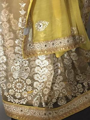 New Indian Ethnic Bollywood Designer Saree Wedding Party Wear Sari Yellow-Beige