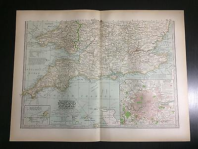 1897 Map of England and Wales - The Century Atlas of the World by Ben E. Smith