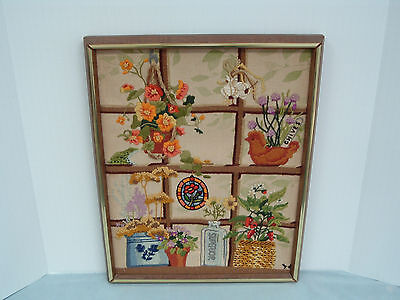 Vintage finished frame crewel embroidery lovely window frame design with flowers