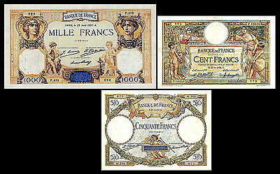 * * * 50, 100, 1.000 Francs - Issue 1923 - 1937 - 3 Banknotes - 13 * * *