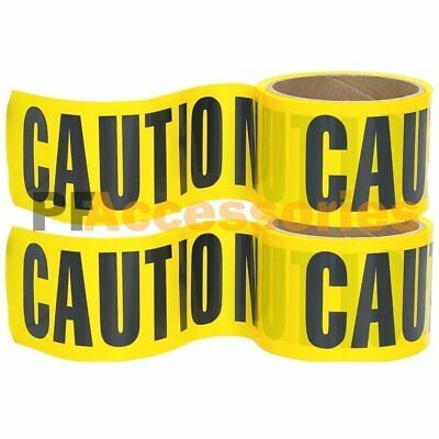 "2 Rolls 100 FT x 3"" inch CAUTION Barrier Tape Yellow Waterproof Vinyl Ribbon"