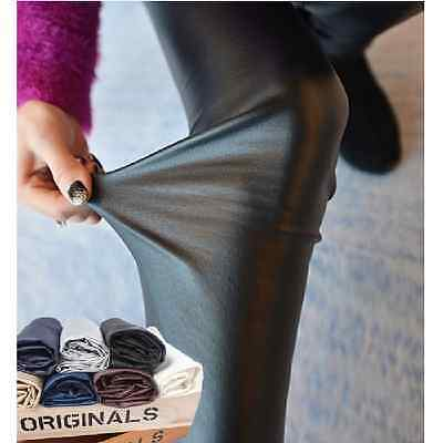 Women Stretch Leggings Skinny Pants Slim Trousers Faux Leather Jegging Funky Hot