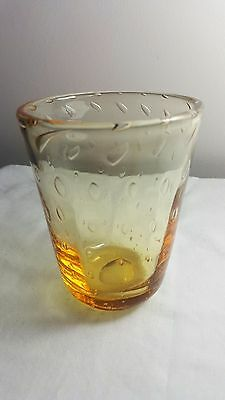 Whitefriars glass amber control bubble vase