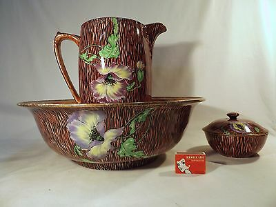 1920's Royal Winton Hand Painted Nicene Ware Jug & Bowl & Lidded Soap Holder