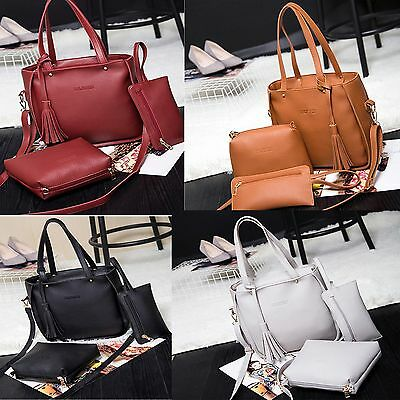 3 Pcs Lady Womens PU Leather Tote Shoulder Bags Handbag Purse Sets