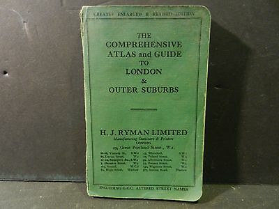 """c.1900s """"THE COMPREHENSIVE ATLAS GUIDE TO LONDON +OUTER SUBURBS BY RYMAN PB BOOK"""