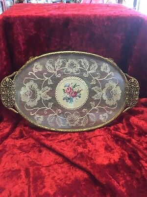 Vintage Hand worked Pennypoint Dressing Table Tray