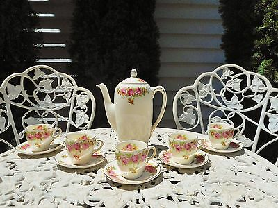 Royal Doulton Roses & Wattle D5643 Coffee Pot, 5 cups & saucers + 1 spare saucer