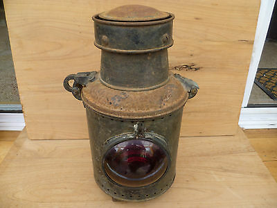 Old Large Australian N.s.w Government Railways Train Lamp, 'red' (232)