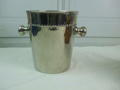 "Vintage Large Champagne Wine Cooler Ice Bucket w Handles Stainless Steel 9""Hx8""W"