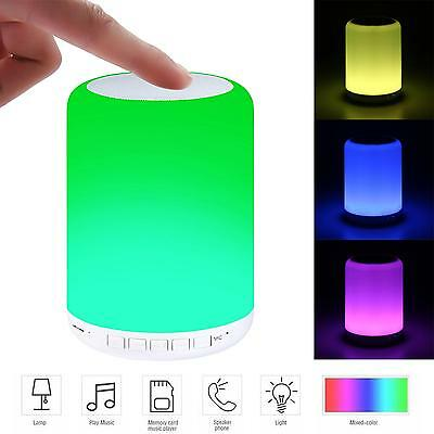 New Portable Home Camping 7Color Changing LED Night Light Lamp Bluetooth Speaker