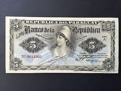 Paraguay 5 Pesos P156 Issued 1907 Uncirculated UNC