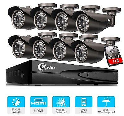 XVIM Home CCTV Security Camera System 8CH 1080N HDMI DVR Night Vision Outdoor 1T