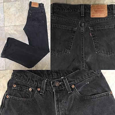"""VTG Levi's 517 Boot Cut Jeans Black Made In USA 7 JR M 27 1/2"""" Waist"""