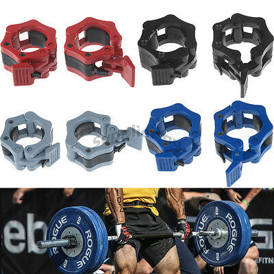 New Pro Pair Lock Jaw Barbell Collars Olympic Bar Weights Clamps Dumbbell Gym AU
