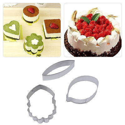 3pcs stainless dedicate flowers cake mold process decorative wedding sugar Q1
