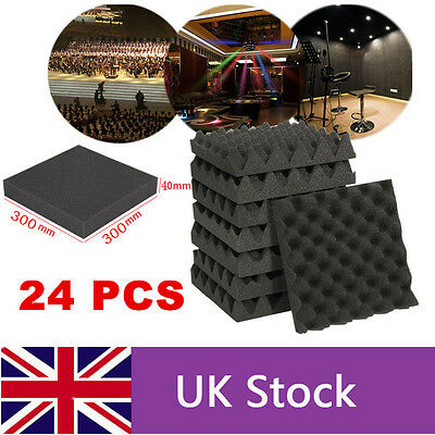 24PCS Acoustic Foam Egg Panels Tiles Studio Sound Proofing Treatment Absorption