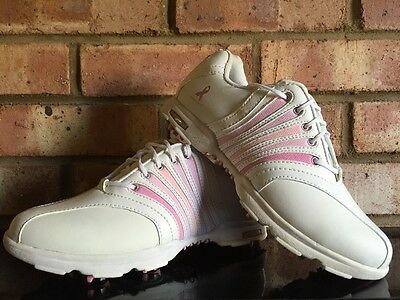 Hi-Tec Golf Ladies Carnaby Golf Shoes Pink Ribbon White Clearance Size UK4.5