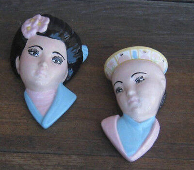 Pastel Pink/Blue Androgynous Girl-Boy Wall Pockets + Vintage Asian Lady Figurine