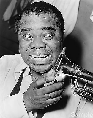 Louis Armstrong Jazz Trumpet Player Black & White Photo Music Print Poster A4