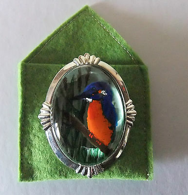 Kingfisher Brooch 3 D Effect Miniature Hand Painting glass,setting Silver Plate