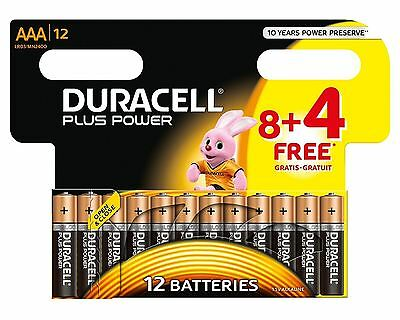 12 x Duracell AAA Batteries Plus Power Alkaline - LR03 MX2400 MN2400 MICRO