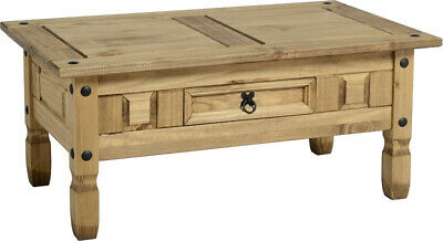 Corona Distressed Waxed Pine Wood 1 Drawer Coffee Table Mexican Home Furniture