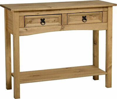 Corona 2 Drawer Console Table With Shelf Distressed Waxed Pine