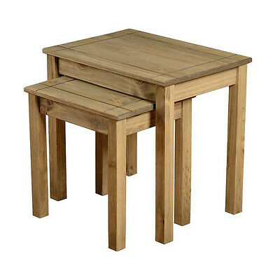 Panama Nest Of 2 Tables in Natural Wax Wooden Solid Pine Wood Mexican Furniture
