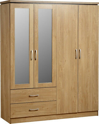 Charles Mirrored Wardrobe 4 Door 2 Drawer in Oak Effect Veneer with Walnut Trim
