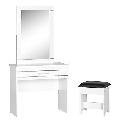 Jordan 1 Drawer Dressing Table Set White/Silver Trim/Black Pu