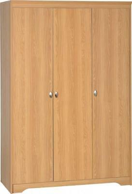 Regent Teak Effect Veneer Wooden 3 Door Wardrobe Closet Bedroom Furniture