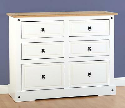 Corona White 6 Drawer Chest - 6 Drawers Bedroom Storage Mexican Furniture Pine