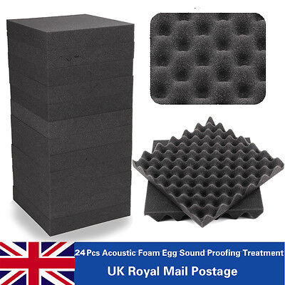 24 x Acoustic Foam Egg Panels Tiles Studio Sound Proofing Treatment Absorption