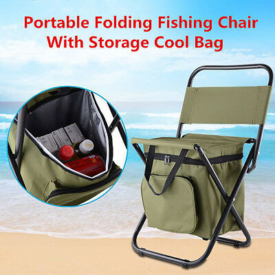 Portable Folding Outdoor Camping Fishing Chair Stool Seat With Storage Cool Bag