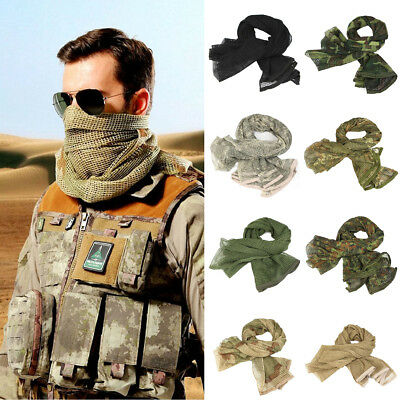 Tactical Military Army Camouflage Camo Scarf Head Neck Wrap Veil Net Mesh Mask