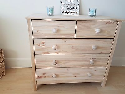 Child's solid pine wardrobe, chest of drawers, bedside cabinet set