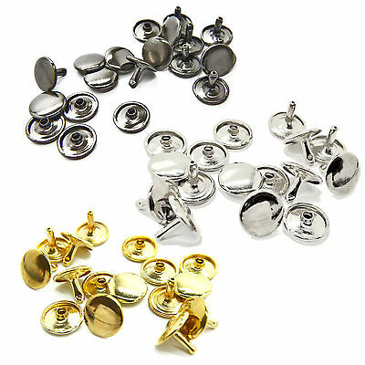 12mm Double Cap Tubular Brass Rivets Studs Leather Crafts - 100 Pcs
