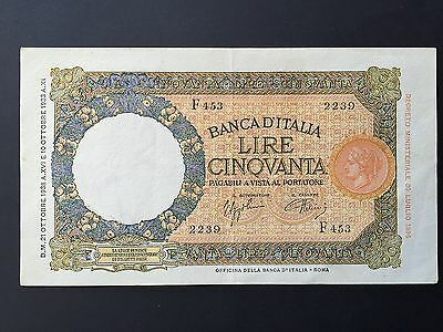 Italy 50 Fifty Lire P54b Dated 21st October 1938 EF