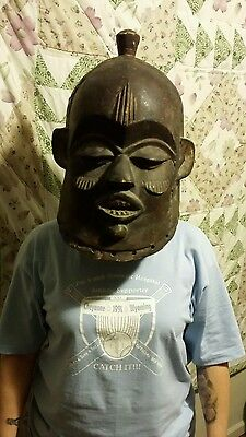 OLD Authentic Vintage African Ethic Helmet Mask Ceremonial Tanzania
