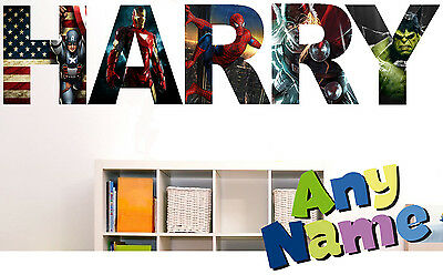 MARVEL AVENGERS letter name wall stickers (3 sizes available & PRE-CUT) S1
