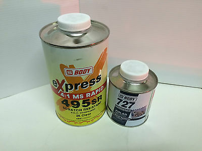 HB Body 495 Clear Coat Lacquer Ltr & 727 Polar Activator