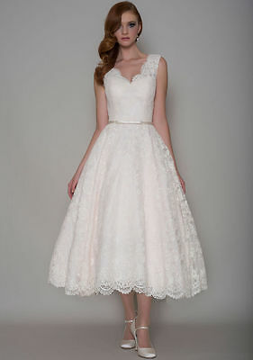 65d596e8b9ad New White or Ivory Tea Length V-neck Wedding Dress Bridal Gown Size 6++++++++18  ...
