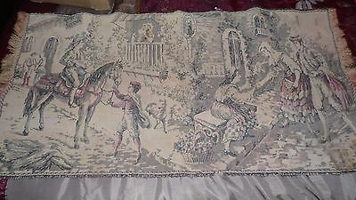 Antique Vintage Cloth Tapestry Victorian People Scene With Fringe