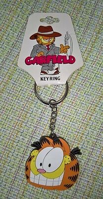 UNIQUE BY PAWS Old Fashion GARFIELD CAT Vinyl keychain Key RIng NEW NEVER USED