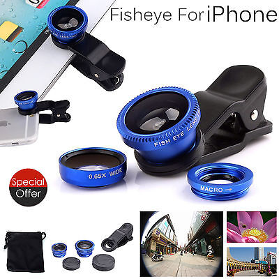 3 in1 Mobile Phone Camera Lens Set Fish Eye Wide Angle Macro Clip Ipad Iphone