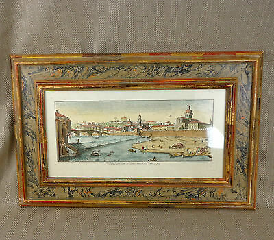Antique Engraving Hand Colored Framed Picture Italy Italian Florence Art Vintage