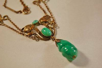 Art Nouveau necklace with beautiful Art Glass or Chrysoprase